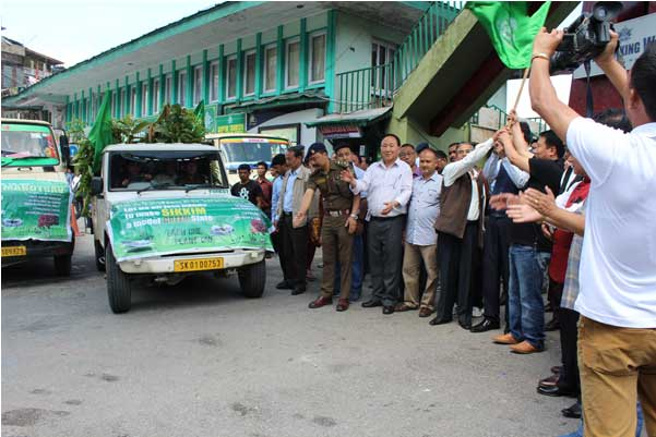 Honourable Minister Forests Shi T W Lepcha flags off seedling distribution vans on June 15 2015