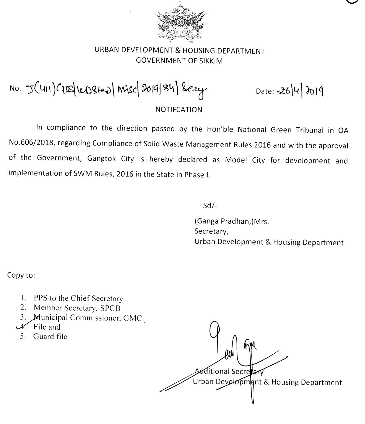 pollution air water noise gangtok declared as the model city of sikkim state for implementation fo  swm rules