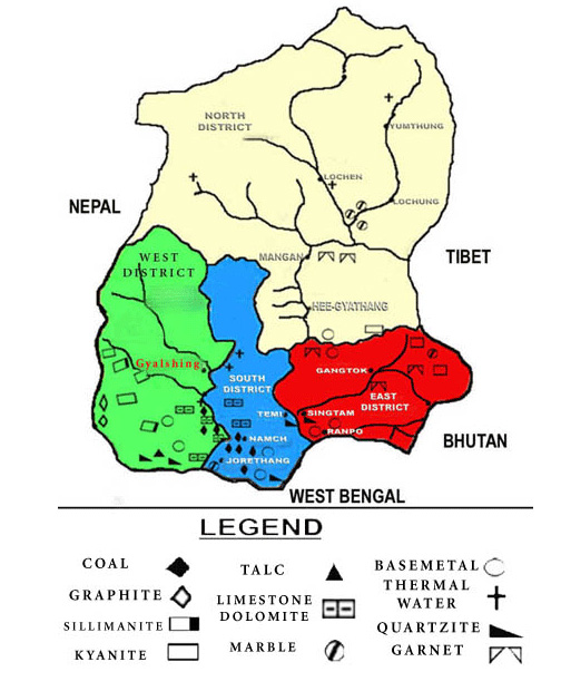 mineral map of sikkim